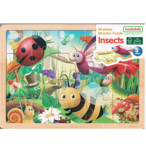 Masterkidz Puzzle Wooden Insects 20pc