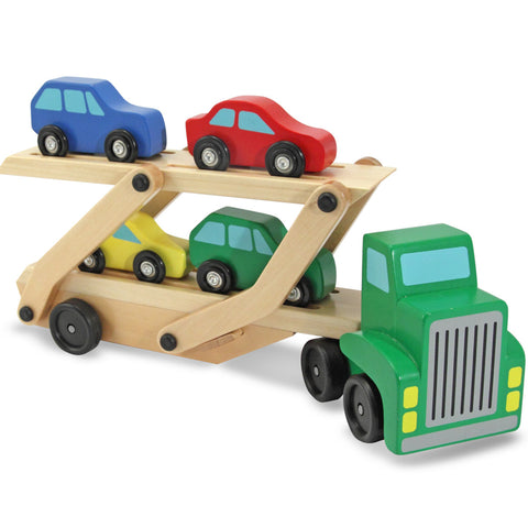 Melissa & Doug Car Carrier with 4 Cars Wooden