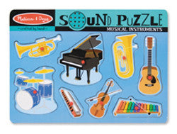 Melissa and Doug Puzzle Musical Instrument Wooden with Sound 8pc