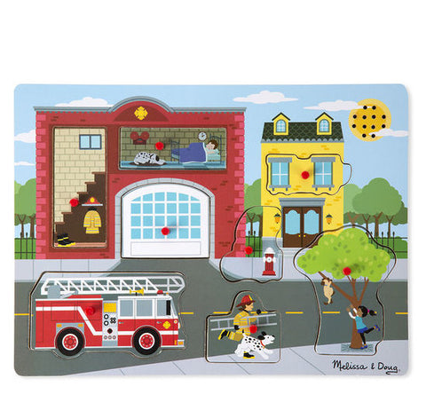 Melissa and Doug Puzzle Around the Fire Station Sound 8pc