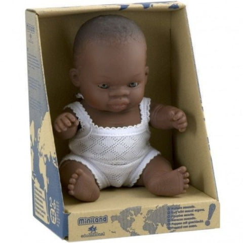 Miniland Doll Boy African 21cm with Underclothes 1