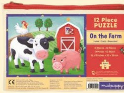 Mudpuppy Puzzle On the Farm 12pc in Zip Bag