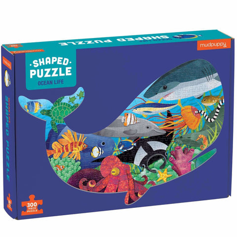 Mudpuppy Puzzle Shaped Ocean Life 300pc