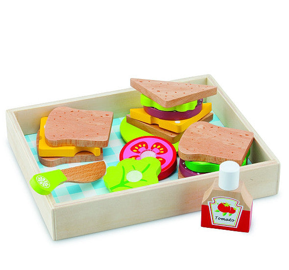 New Classic Toys Sandwich Set in Tray Wooden 18pc