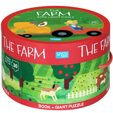 Sassi Book & Giant Puz 30pce The Farm