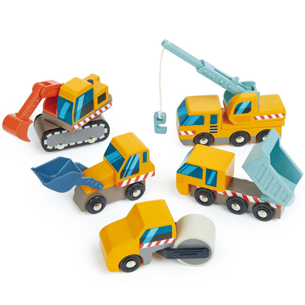 Tender Leaf Toys  Construction Cars Wooden 5pc 1