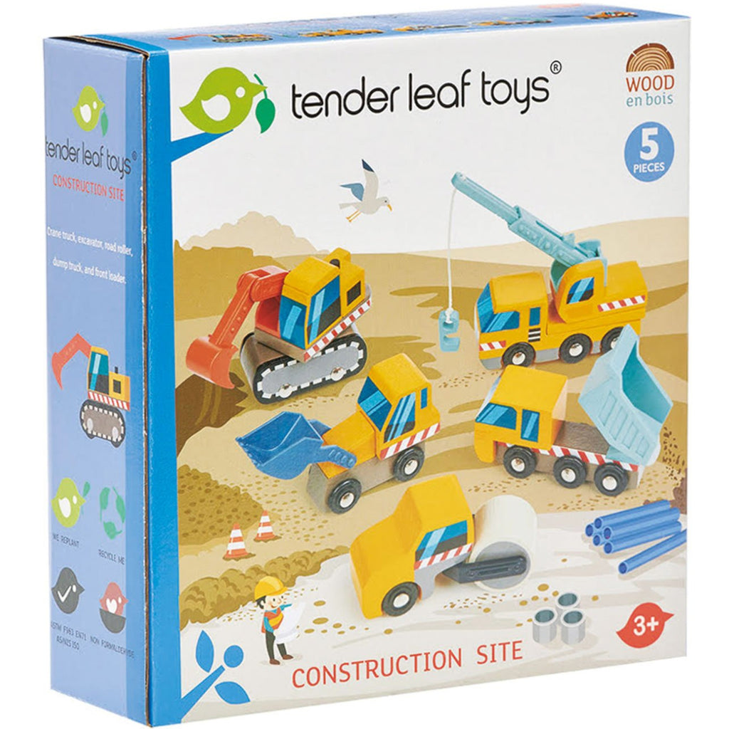 Tender Leaf Toys  Construction Cars Wooden 5pc
