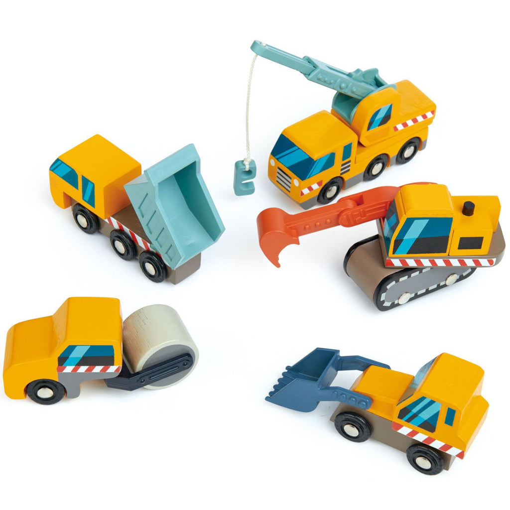 Tender Leaf Toys  Construction Cars Wooden 5pc 3