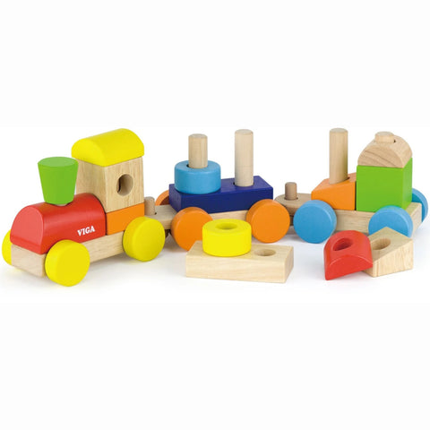 Viga Stacking Train 14 Wooden Blocks