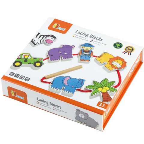 Viga Lacing Blocks Zoo Animals 12pcs