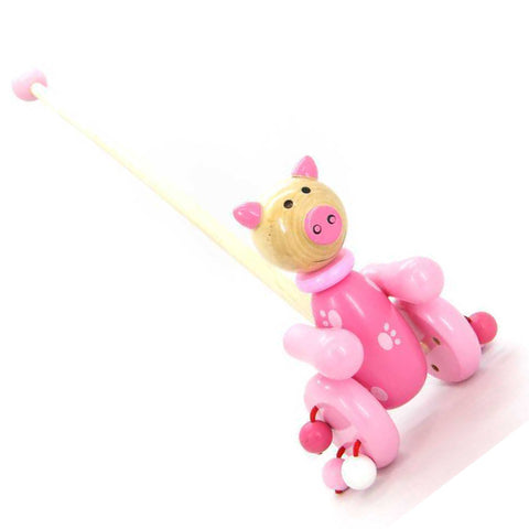 Kaper Kidz Push Along Pig Wooden