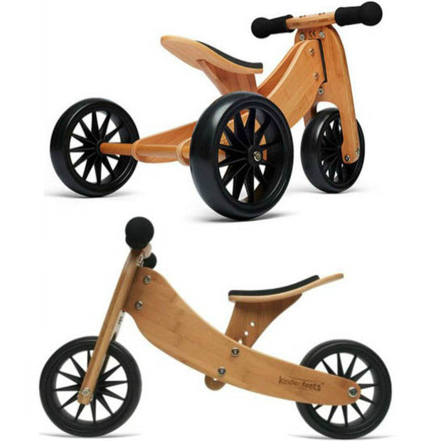 Kinderfeets Tiny Tot 2-in-1 Kids Wooden Toy Outdoor Balance Bike Trike Red Baby Gear