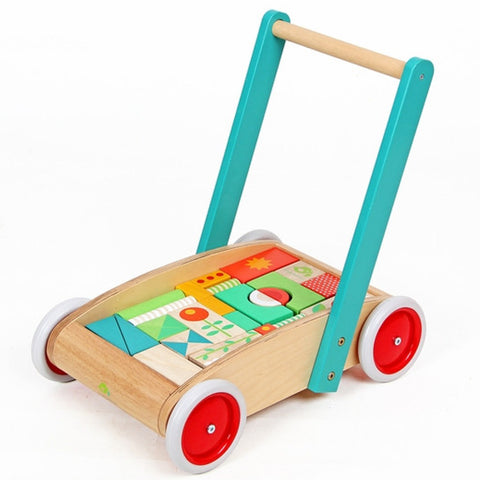 Tender Leaf Toys Walker Wagon with Coloured Blocks Wooden