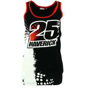 Maverick Vinales 25 Moto GP Logo Black Women's Tank Top Official New - allstarsdirect