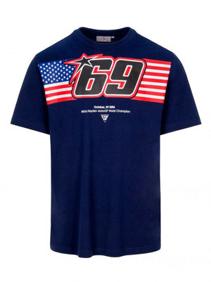 Nicky Hayden T-shirt 69 USA Flag Blue MotoGP Official 2020 - allstarsdirect
