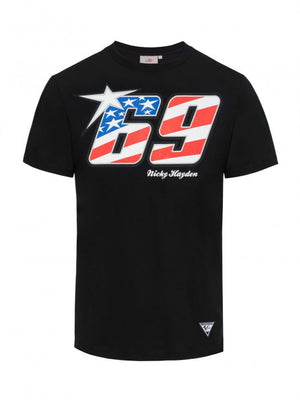 Nicky Hayden T-shirt 69 USA Flag Black MotoGP Official 2020 - allstarsdirect