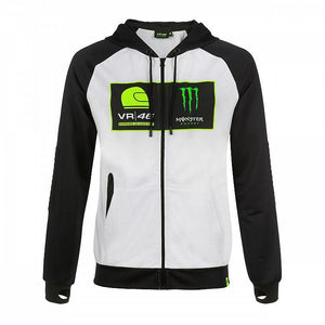 Valentino Rossi Hoodie VR46 MotoGP Monster Sponsor Dual White Official 2019 - allstarsdirect