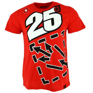 Maverick Vinales 25 Moto GP Large Logo Red T-shirt Official New - allstarsdirect
