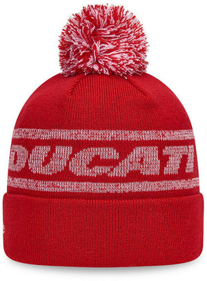 New Era Ductai Badge Knit Scarlet Bobble Hat Red