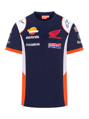 Honda Repsol MotoGP Teamwear Panel Logos Blue T-shirt Official 2020 - allstarsdirect