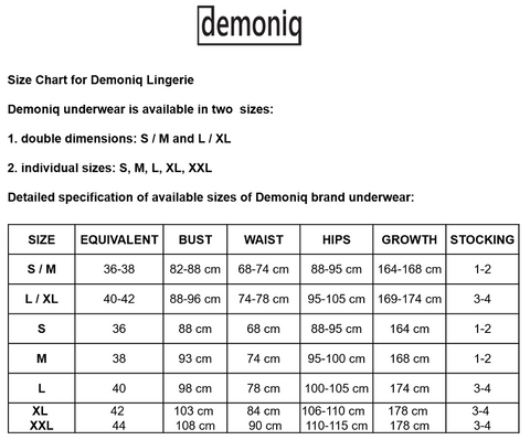 demoniq size chart