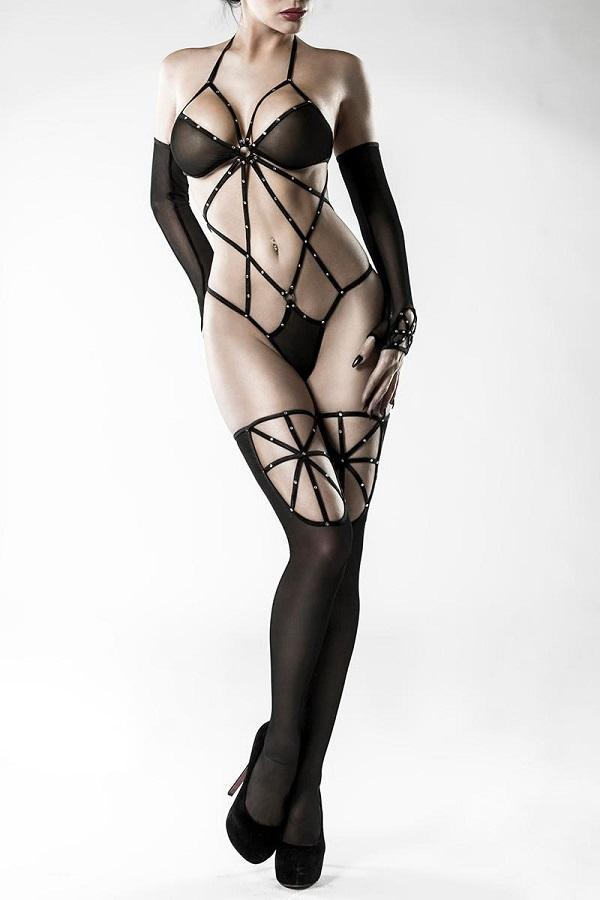 Black Mesh Teddy Set
