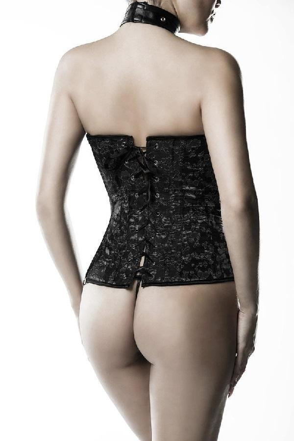 Leather Look Embroidered Corset