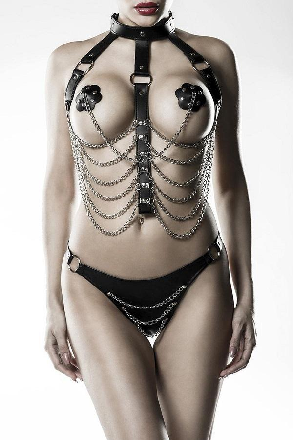 Chains Choker Body Harness