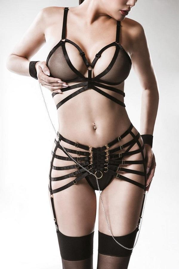 Chain Suspender Belt Set