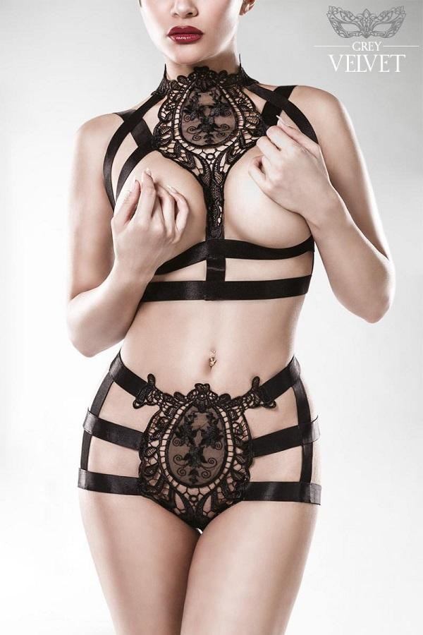 Lace Cupless Cage Lingerie Set