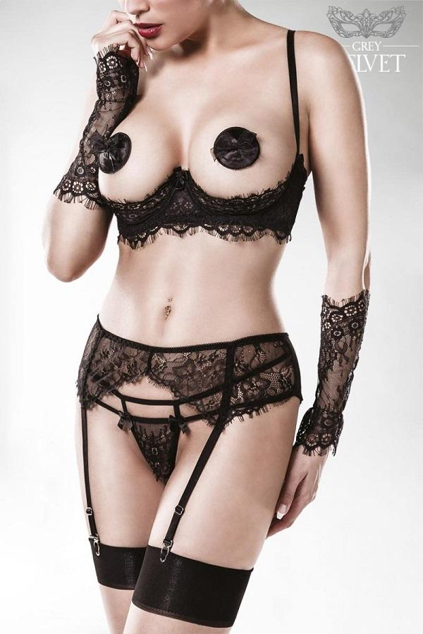5 Piece black lace lingerie set
