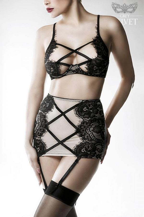 Bra, High Waist Suspender-Belt Set