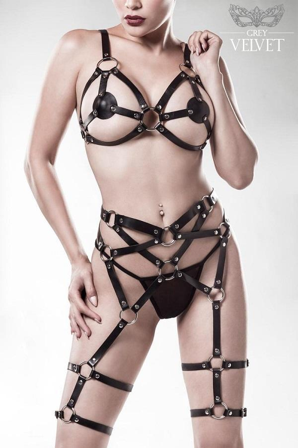 Harness Bra and Garter Set