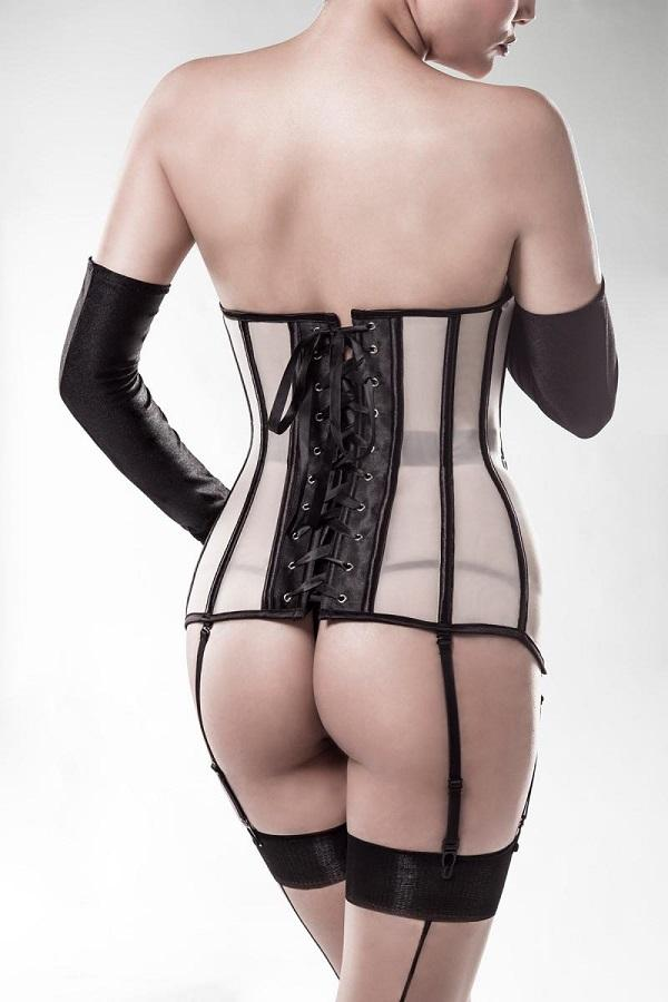 Mesh Over-bust Corset Set