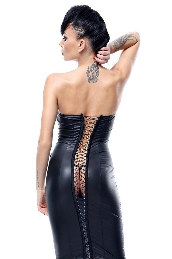 Wet-Look dress with open backside