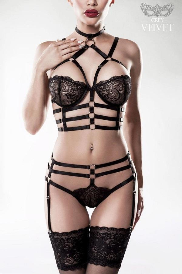 Lace Bra Harness Set