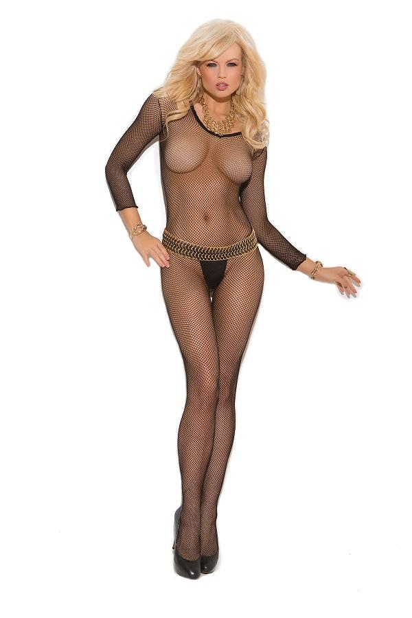 Seamless black fishnet body stocking