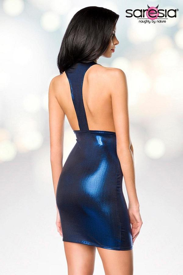 Metallic Blue Mini Dress