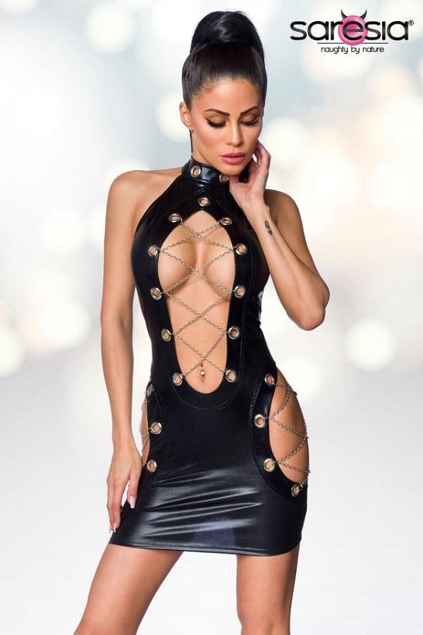 Wet-Look Chain Dress