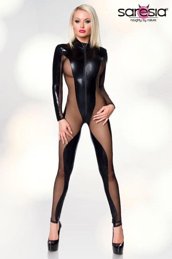 Wet-Look and Mesh Cat-Suit