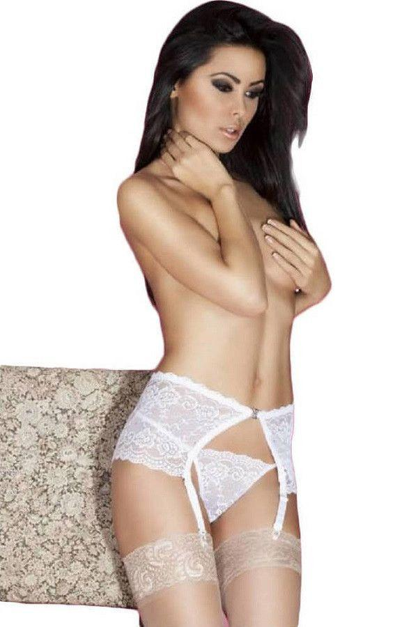 White garter-belt with G-string
