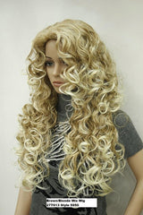 Long Brown Blonde Mix Curly Wig