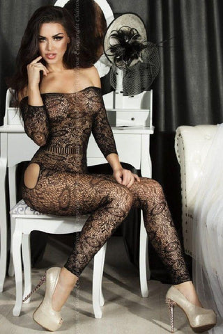 Black footless sleeved Bodystocking for <span class=money>€19.95 EUR</span> at Flirtywomen