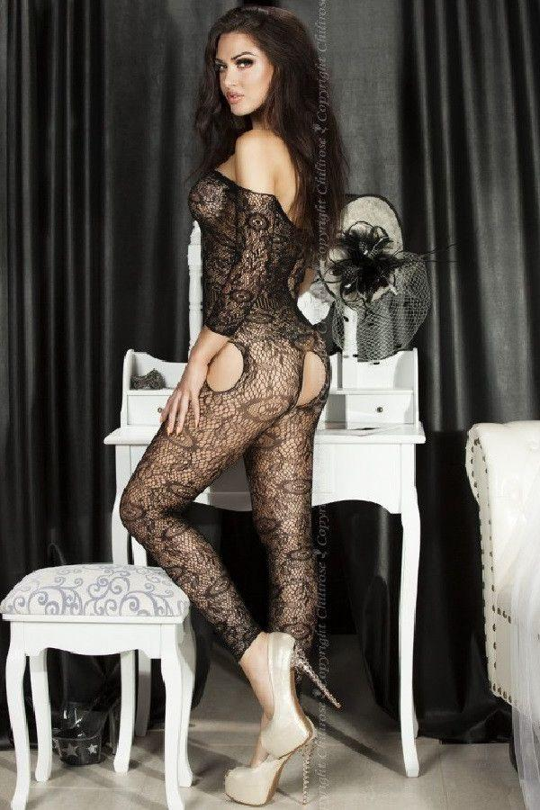 Black footless sleeved Bodystocking
