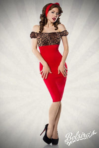 Vintage Pencil Dress Red with Leopard
