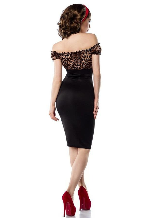 Vintage Pencil Dress Black with Leopard