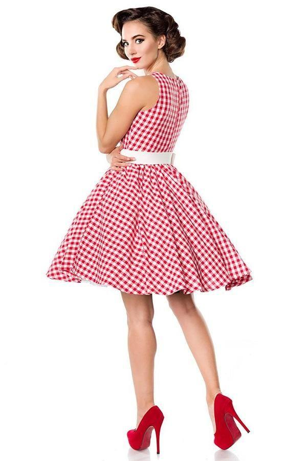 50s Gingham Swing Dress Red
