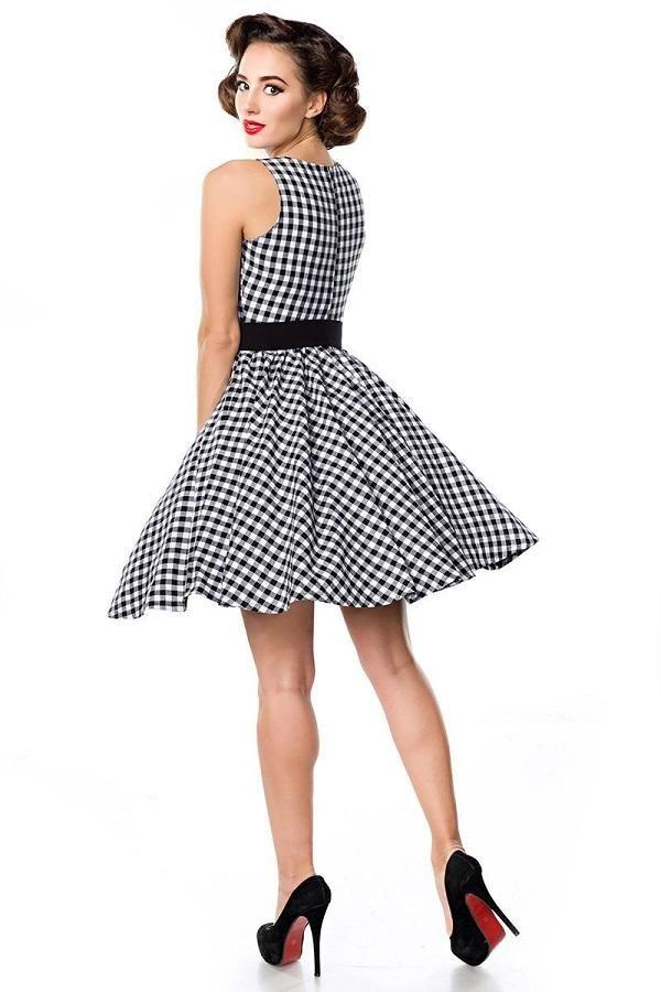 50s Gingham Swing Dress Black