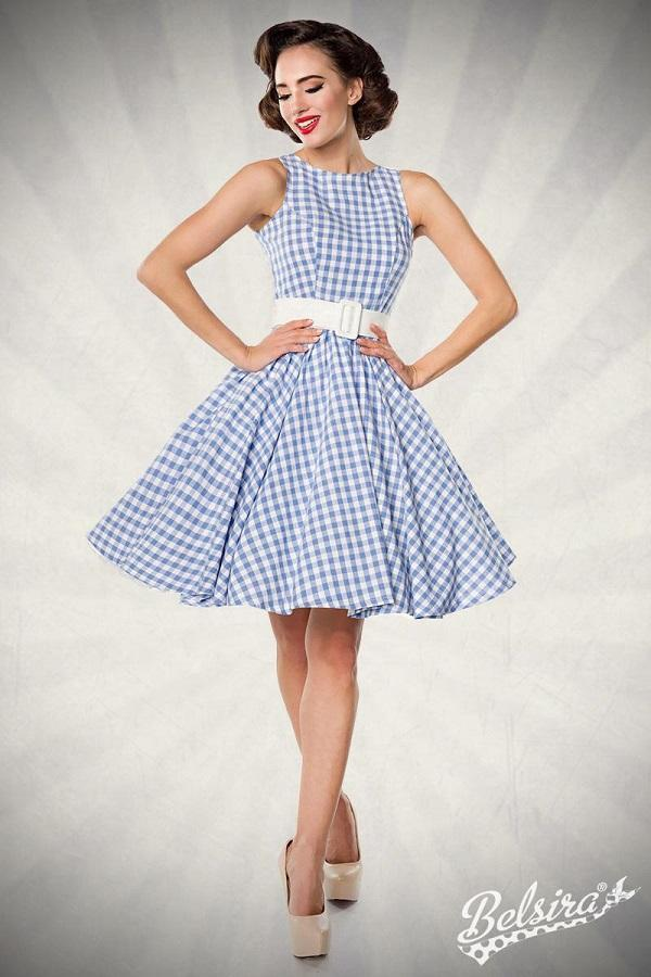 50s Gingham Swing Dress Blue
