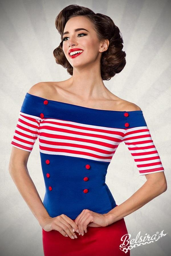 Vintage striped top blue-red
